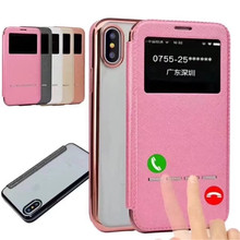 Ultra thin cell phone leather flip case with card holder for iPhone X with smart window view