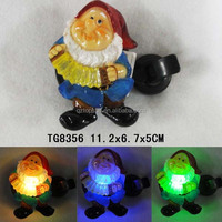 Polyresin gnome music indoor solar led night light for hme decoration