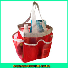 Travel hanging shower caddy, mesh pocket organizer, mesh bag organizer