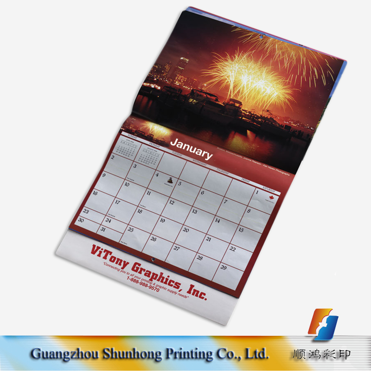2017 top quality promotional wall calendar with custom design