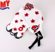 fashion top sale beautiful custom Red white winter hat and scarf set