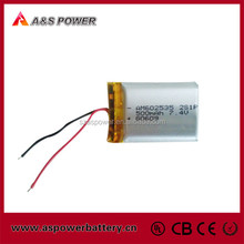 Smallest lipo pack 602535 2S rechargeable 500mah 7.4v li-polymer battery