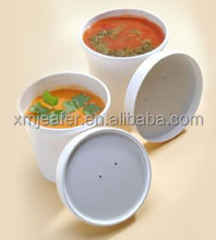 Disposable paper soup container with lid