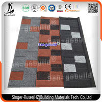 New Design Flat Roofing Shingle, Low Cost Stone Coated Metal Roof Tile with Best Quality