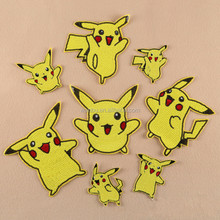 Cute Cartoon Pikachu Sequined Sew Iron On Patches for clothes DIY Coat Sweater T shirt Clothing Patch Applique