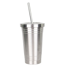 China made high quality BPA free double wall metal stainless steel skinny shape 16oz cup tumbler with straw