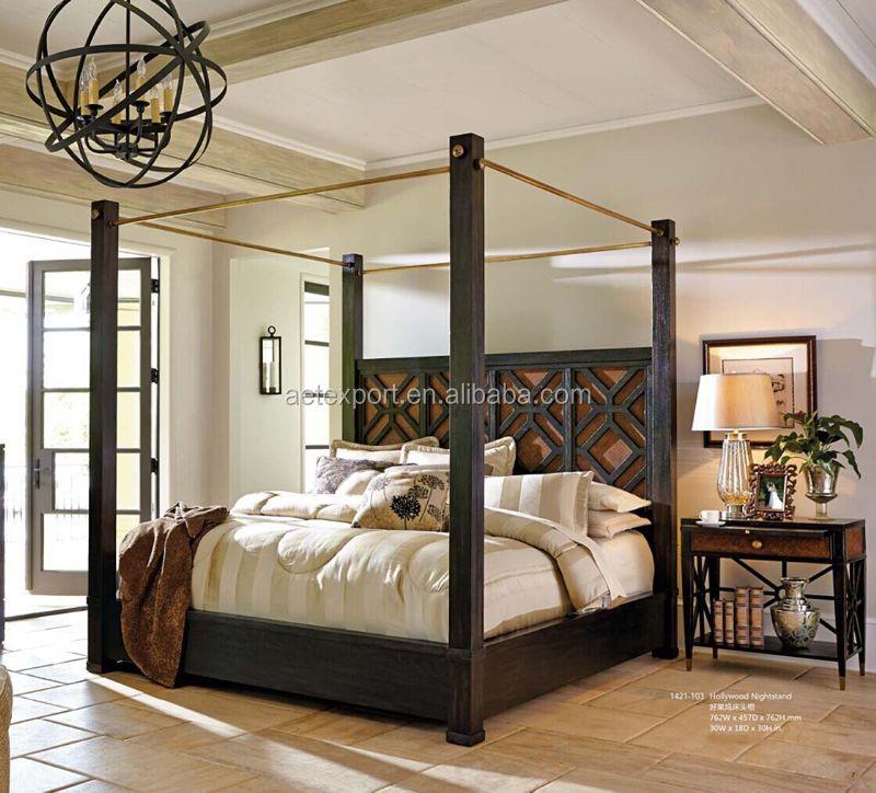 Lit Baldaquin Bois Massif : Solid Wood 4 Poster King Size Bed