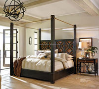 American style modern design bed Solid wood bed Four poster king size bed