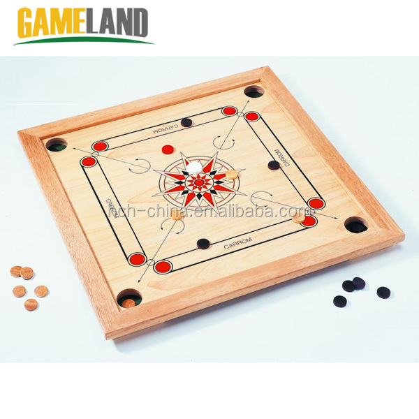 Wooden Carrom Board Games with Coins and Strikers