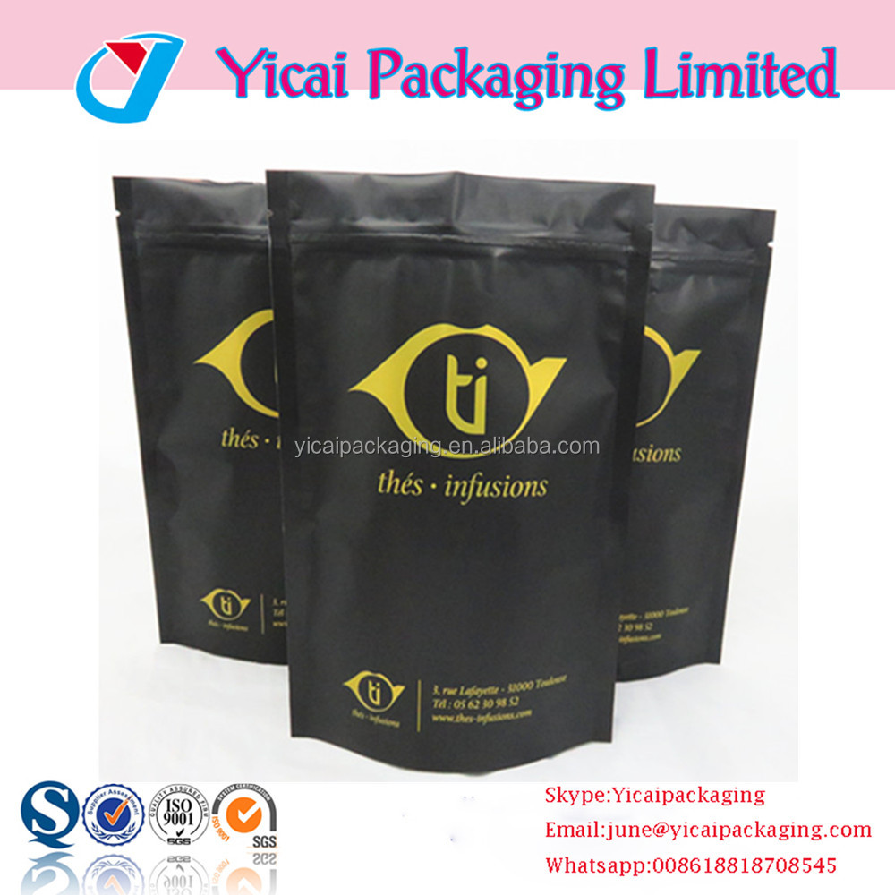 Custom printed matte black ziplock stand up mylar clear resealable vacuum food stand up plastic packaing pouch