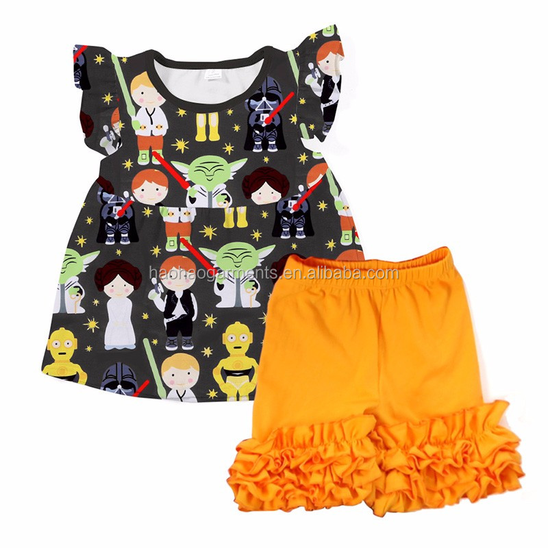 Children boutique clothing tunic tops and ruffled shorts baby girls matching clothes