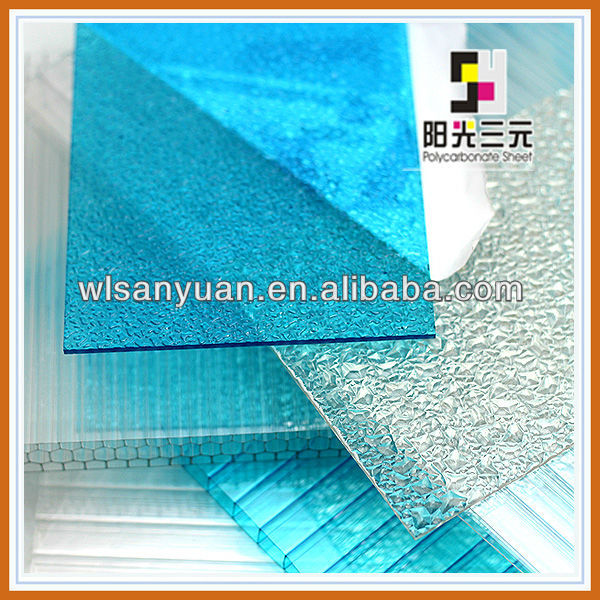 [new building materials] polycarbonate sheet price; UV proof Embossed polycarbonate solid plate drops of dew condensation;