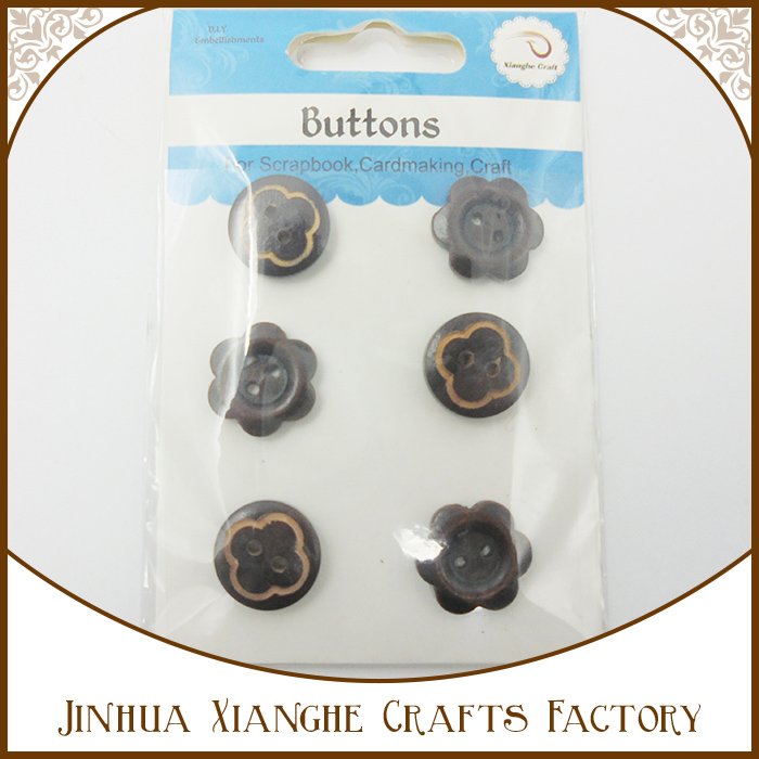 2016 newest arrival black color fashion simple round shape wood buttons for children /