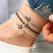 Handmade Girls Silver Sea turtle braided leather ankle bracelet