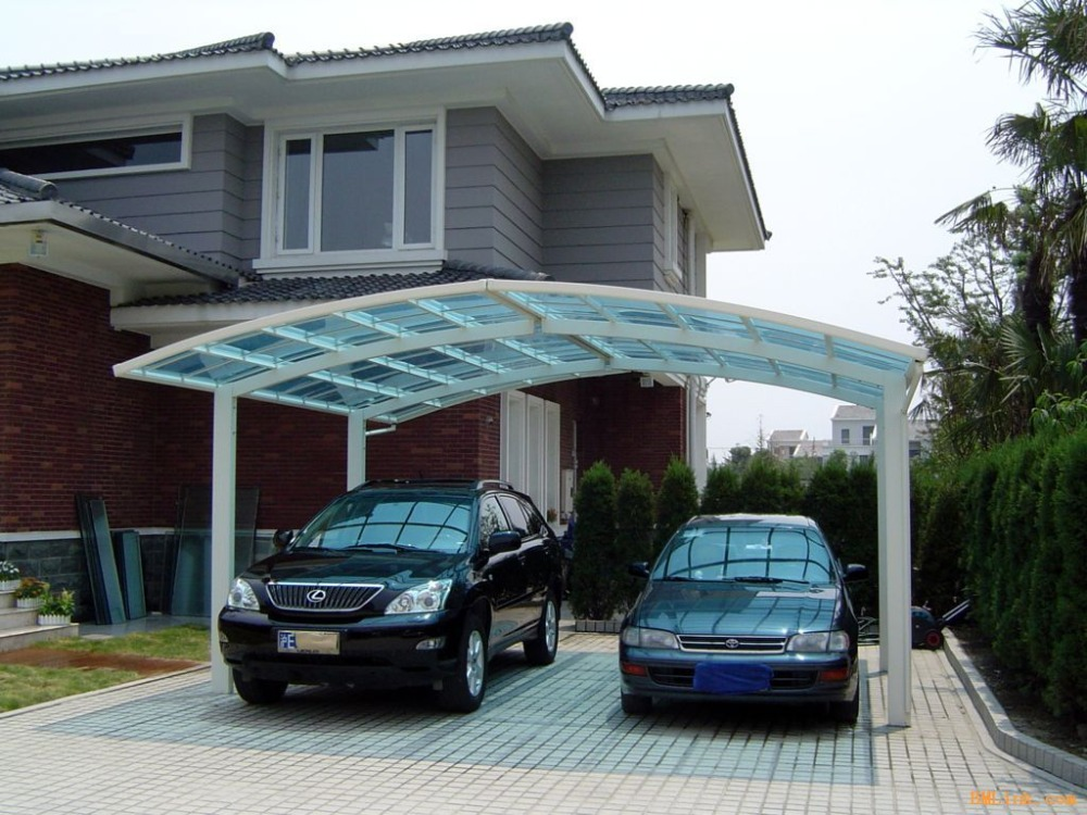Aluminum Double Side Cantilever Carport With Polycarbonate Sheet