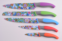 5pcs kitchen knife set with colorful painting