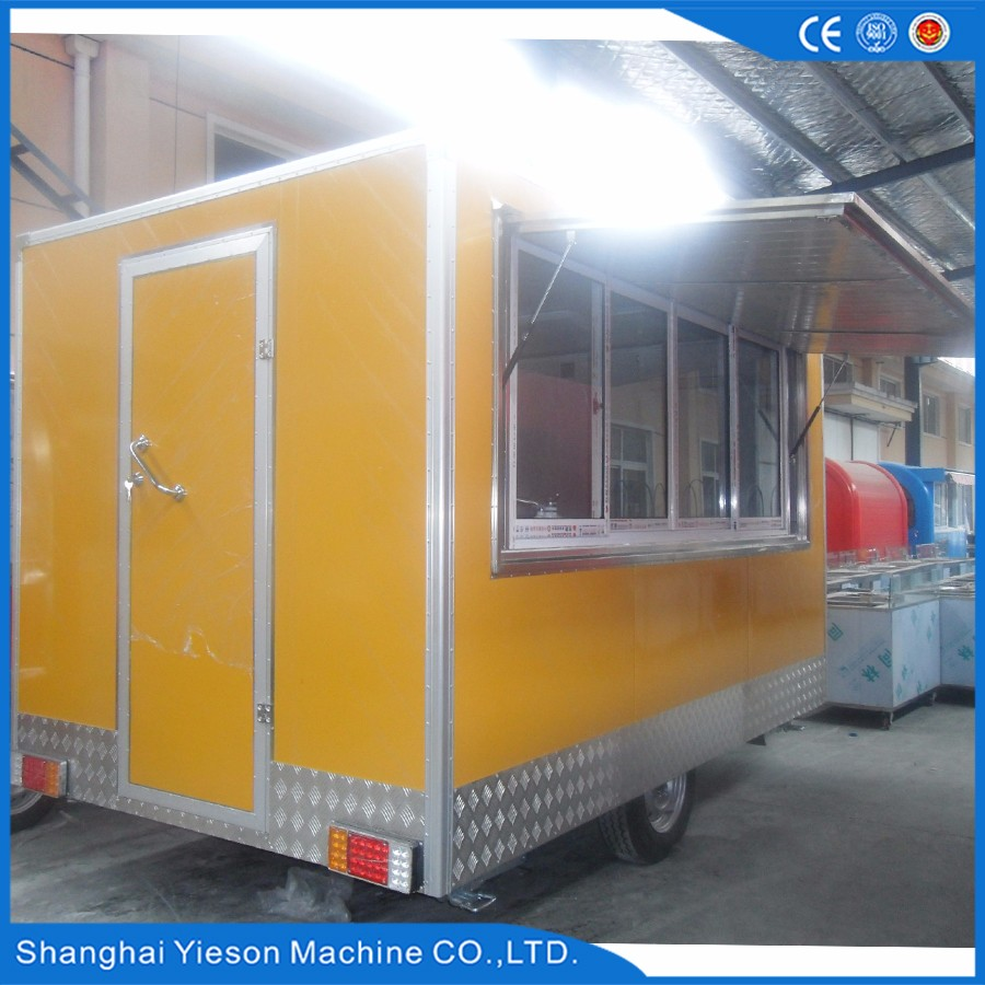 Popular Using caravan trailer fast food trailer for sale with 2 years warranty / mobile food trailer with ice cream machine