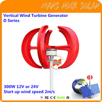 Vertical Axis Wind Turbine Generator VAWT D Series 300W 12/24V Light and Portable Wind Generator Strong and Quiet
