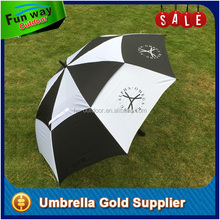 Checked golf umbrella with air vented double canopy