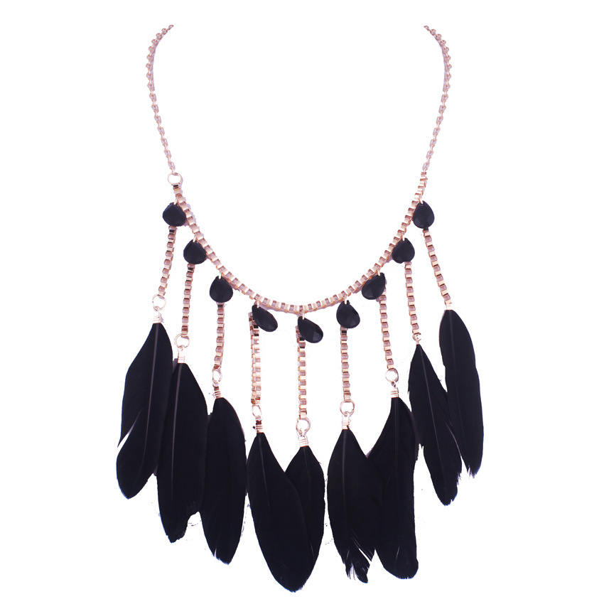 Bohemia fashion accessories decorative feather tassel Korean crystal jewelry necklace