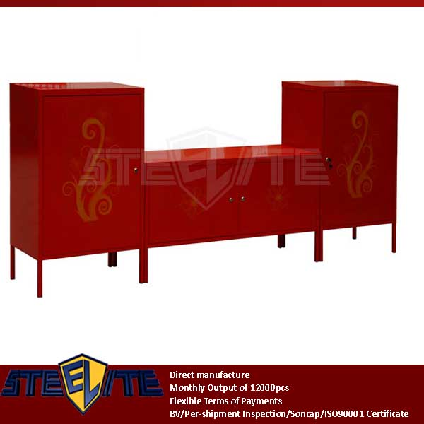 red PS Decolor steel modular tv cabinet / Korean metal hanging tv cabinet wall units with front printed flowers