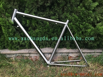OEM titanium road bike frame 700c road racing bicycle frame with handing brush finished customed Ti road bicycle frame