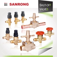 Sanrong 6110 Manual Refrigeration Stop Valve, Castel Brass Right Angle Stop Valve, 2-Way Air Conditioning Valve for Receiver