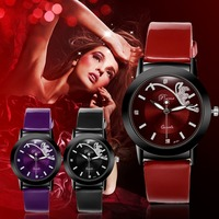 Fashion Classic Women Watch Round Dial Quartz Wristwatch Synthetic Leather Band