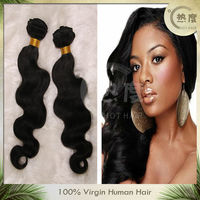 "Natural color body wave 18"" virgin Indian hair weave with top grade 5A"