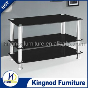 Cheap Modern New Design Corner Furniture Stainless Steel Glass TV Stand
