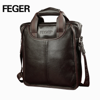 FEGER top grain cowhide leather business bag briefcase laptop bags for teens