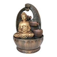 Pump operated indoor resin waterfall buddha fountain