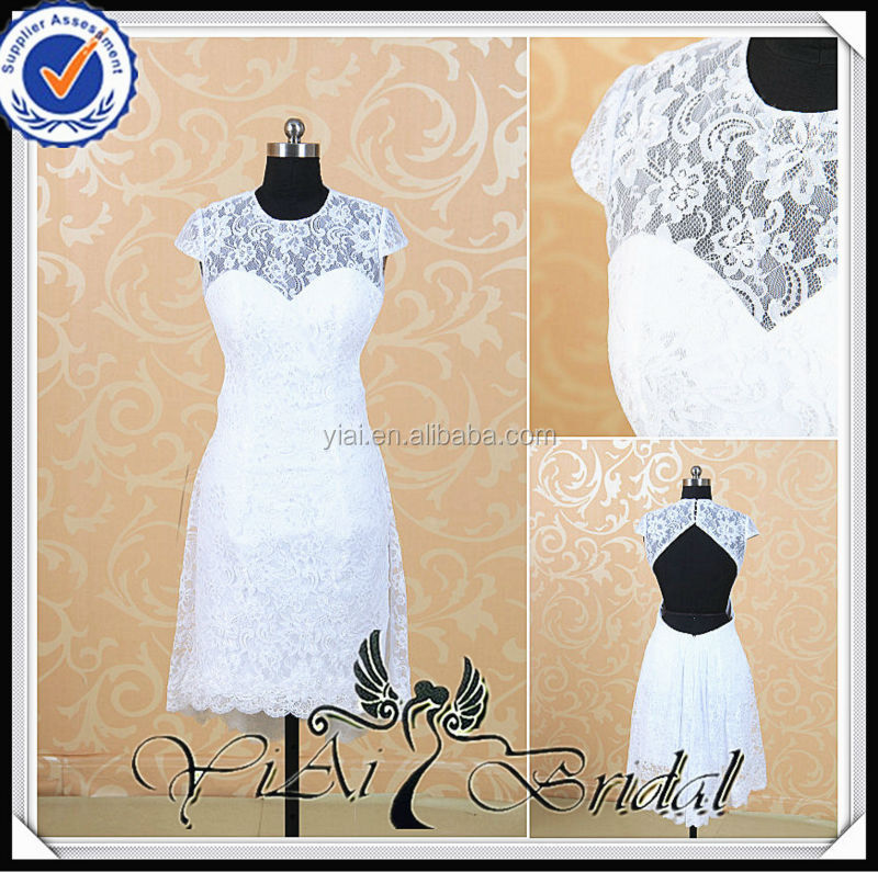 RSW517 White Lace Country Sexy Short Wedding Dresses