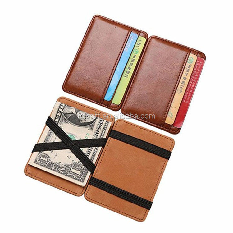2017 best selling popular magic men leather wallet with multi card holder and elastic strap