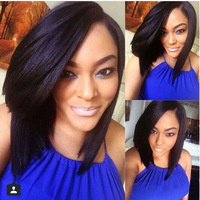 Bob style glueless full lace wigs brazilian virgin remy human hair wig lace front short bob wigs bleached knots for black women