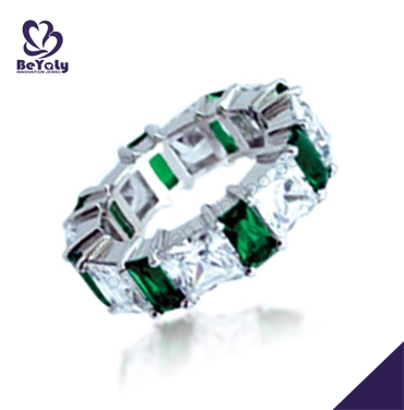 Stylish women green stone fashion silver sex finger ring