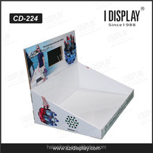 counter top cardboard LCD display stand, table top paper display with video player