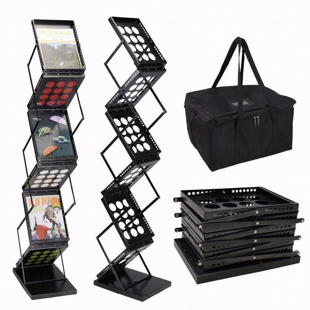 Brochure Display Stand Magazine Display Rack Literature Holder Floor Stand Pop-up Folding Metal Black 6 Pockets for Trade Show