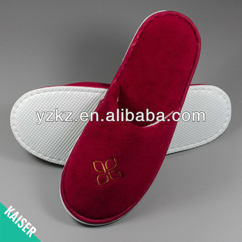 Lovely China red eva sole five star hotel guest slipper,OEM welcome