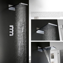 Thermostatic Whole-body Copper Bathroom Shower Faucets Wall Mounted Chrome Finished Waterfall And Rainfall Square Shower Head