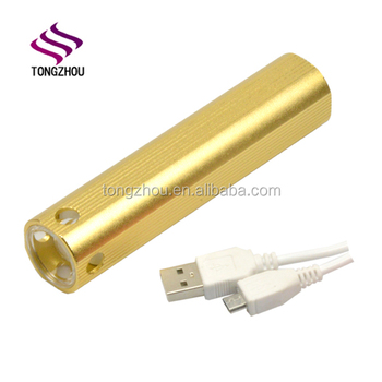 China Factory SupplyCheap Super Bright Logo printed Best Aluminum USB rechargeable torchlight