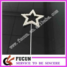 child baby birthday rhinestone silver plating star shape cake pick cake topper for cake decoration