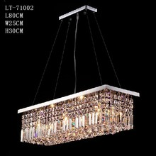 Modern rectangle crystal lighting,wholesale crystal pendant light 71002
