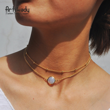 Artilady customized multilayer gift birthstone beads gold chain choker necklace