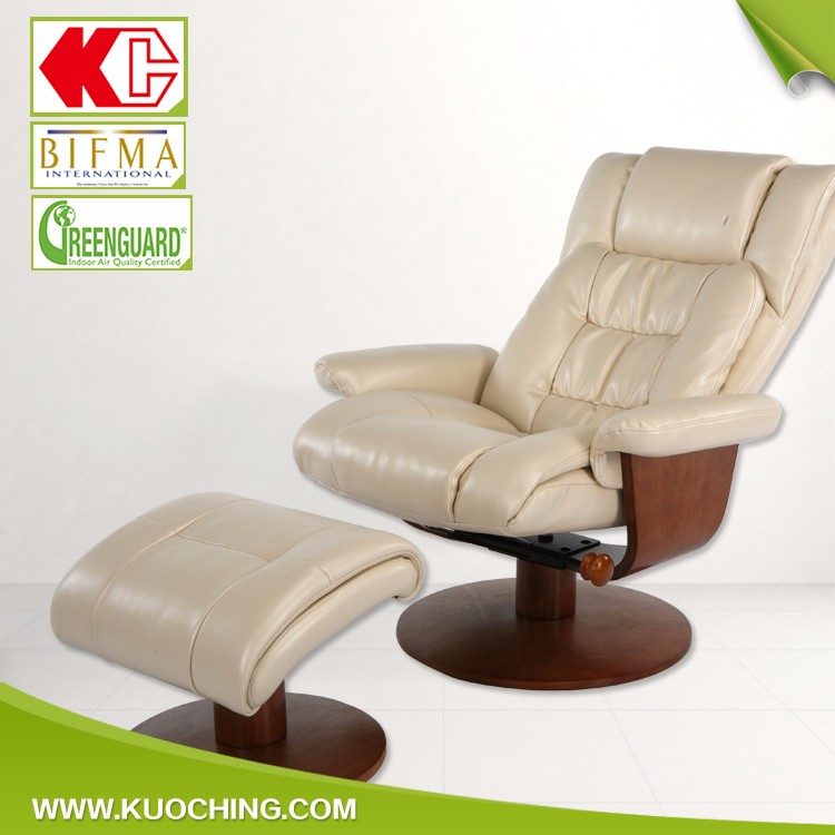 Ergonomic Swivel Tilting Wooden Base Leather/Fabric Recliner Armchair