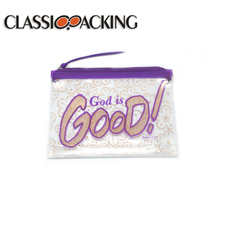 Best selling cosmetic bag with red lips private label and logoeva zipper bag