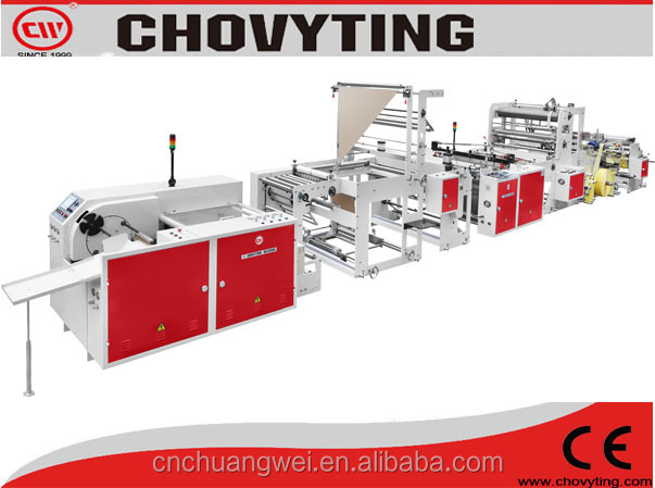 fully automatic rolling grabage bag making machine/poly draw grabage bag making machine /overlap grabage roll bag machine