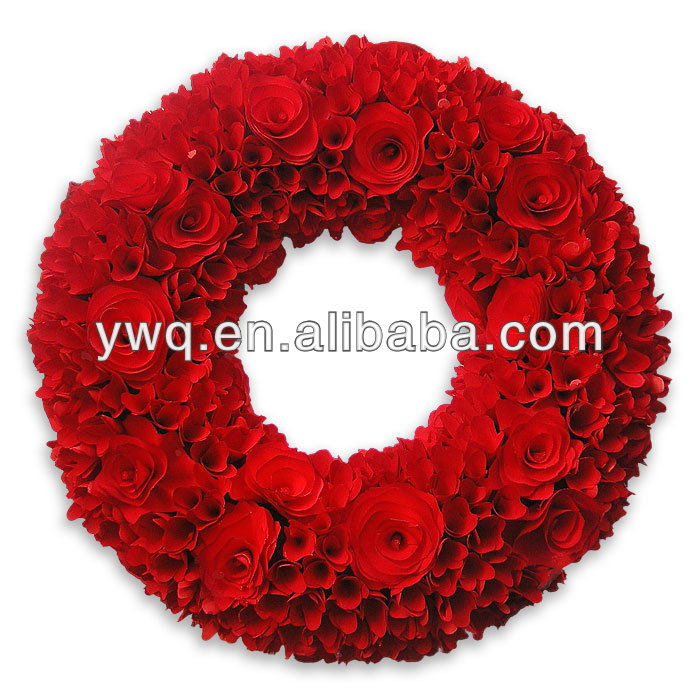 Artificial Red Flower Christmas Wreath 8ft long 13in wide Christmas Wreath