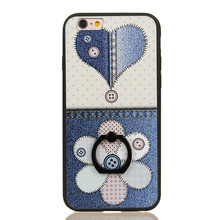 For iPhone 8 Finger Ring Stand Matte Plastic Mobile Case Cover ,Fastener Button Flower Mobile Phone Case for iPhone 6S plus