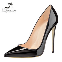 Cheap Fetish Black Patent PU Pointy Toe High Pumps Heels Stilettos Dress Shoes Women